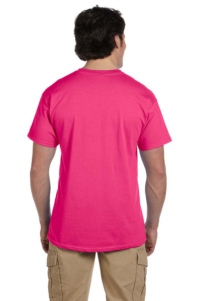 Fruit Of The Loom 3931 Mens HD Jersey Short Sleeve Crewneck T-Shirt Cyber Pink Back