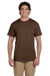 Fruit Of The Loom 3931 Mens HD Jersey Short Sleeve Crewneck T-Shirt Chocolate Brown Front