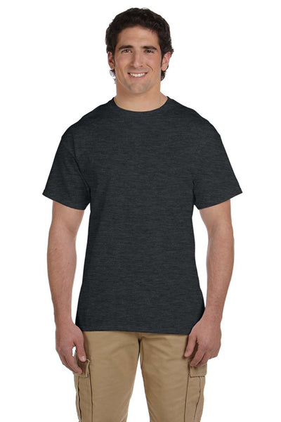 Fruit Of The Loom 3931 Mens HD Jersey Short Sleeve Crewneck T-Shirt Heather Black Front