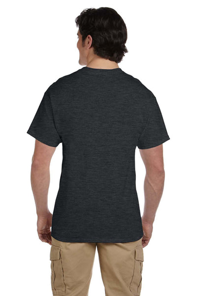 Fruit Of The Loom 3931 Mens HD Jersey Short Sleeve Crewneck T-Shirt Heather Black Back