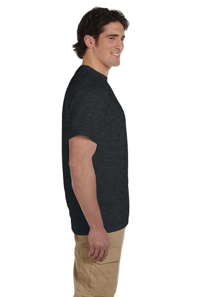 Fruit Of The Loom 3931 Mens HD Jersey Short Sleeve Crewneck T-Shirt Heather Black Side