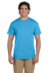 Fruit Of The Loom 3931 Mens HD Jersey Short Sleeve Crewneck T-Shirt Aquatic Blue Front