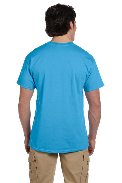 Fruit Of The Loom 3931 Mens HD Jersey Short Sleeve Crewneck T-Shirt Aquatic Blue Back