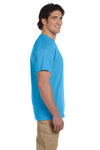 Fruit Of The Loom 3931 Mens HD Jersey Short Sleeve Crewneck T-Shirt Aquatic Blue Side
