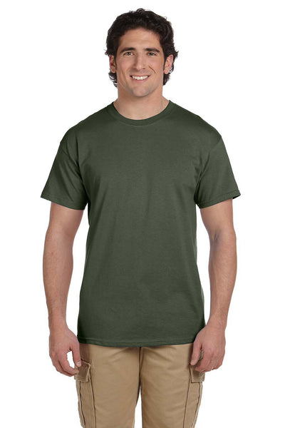Fruit Of The Loom 3931 Mens HD Jersey Short Sleeve Crewneck T-Shirt Military Green Front
