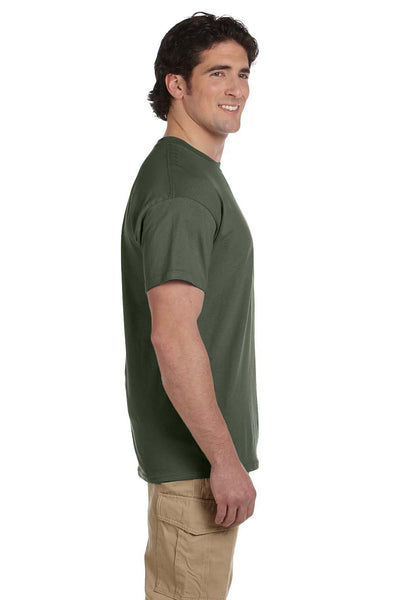 Fruit Of The Loom 3931 Mens HD Jersey Short Sleeve Crewneck T-Shirt Military Green Side