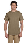 Fruit Of The Loom 3931 Mens HD Jersey Short Sleeve Crewneck T-Shirt Safari Brown Front