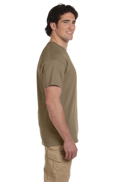 Fruit Of The Loom 3931 Mens HD Jersey Short Sleeve Crewneck T-Shirt Safari Brown Side