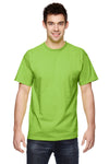Fruit Of The Loom 3931 Mens HD Jersey Short Sleeve Crewneck T-Shirt Neon Green Front