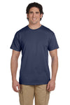 Fruit Of The Loom 3931 Mens HD Jersey Short Sleeve Crewneck T-Shirt Denim Blue Front
