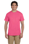 Fruit Of The Loom 3931 Mens HD Jersey Short Sleeve Crewneck T-Shirt Neon Pink Front