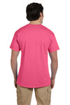 Fruit Of The Loom 3931 Mens HD Jersey Short Sleeve Crewneck T-Shirt Neon Pink Back