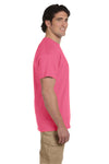 Fruit Of The Loom 3931 Mens HD Jersey Short Sleeve Crewneck T-Shirt Neon Pink Side