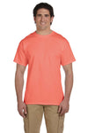 Fruit Of The Loom 3931 Mens HD Jersey Short Sleeve Crewneck T-Shirt Heather Coral Red Front