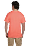 Fruit Of The Loom 3931 Mens HD Jersey Short Sleeve Crewneck T-Shirt Heather Coral Red Back