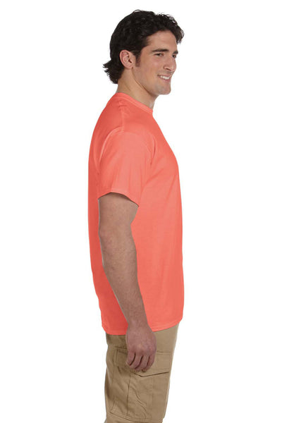 Fruit Of The Loom 3931 Mens HD Jersey Short Sleeve Crewneck T-Shirt Heather Coral Red Side
