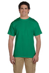 Fruit Of The Loom 3931 Mens HD Jersey Short Sleeve Crewneck T-Shirt Heather Green Front