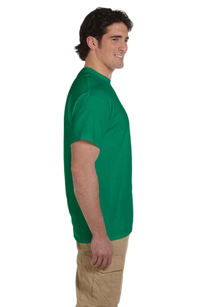 Fruit Of The Loom 3931 Mens HD Jersey Short Sleeve Crewneck T-Shirt Heather Green Side