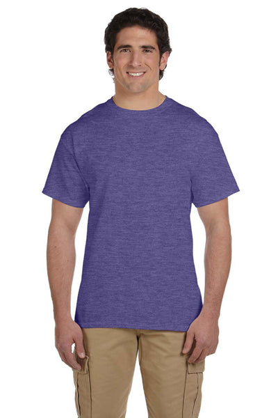 Fruit Of The Loom 3931 Mens HD Jersey Short Sleeve Crewneck T-Shirt Heather Purple Front