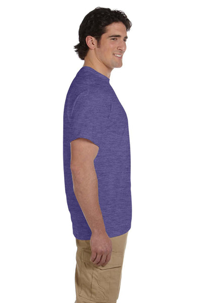Fruit Of The Loom 3931 Mens HD Jersey Short Sleeve Crewneck T-Shirt Heather Purple Side