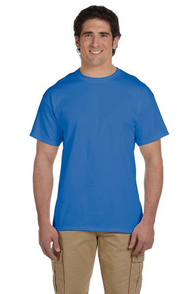 Fruit Of The Loom 3931 Mens HD Jersey Short Sleeve Crewneck T-Shirt Heather Royal Blue Front