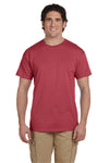 Fruit Of The Loom 3931 Mens HD Jersey Short Sleeve Crewneck T-Shirt Crimson Red Front