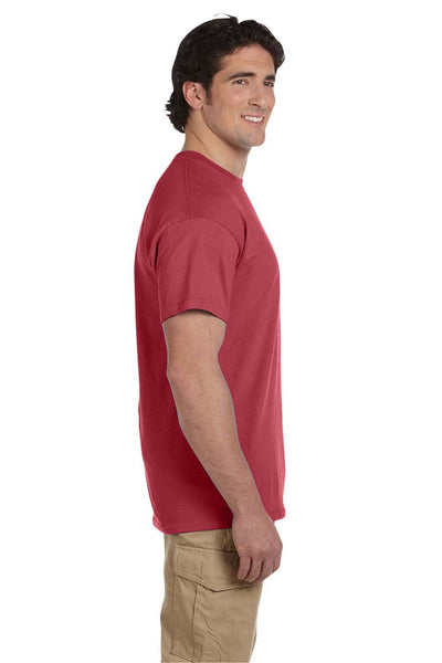 Fruit Of The Loom 3931 Mens HD Jersey Short Sleeve Crewneck T-Shirt Crimson Red Side