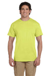 Fruit Of The Loom 3931 Mens HD Jersey Short Sleeve Crewneck T-Shirt Neon Yellow Front