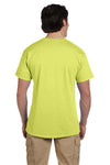 Fruit Of The Loom 3931 Mens HD Jersey Short Sleeve Crewneck T-Shirt Neon Yellow Back