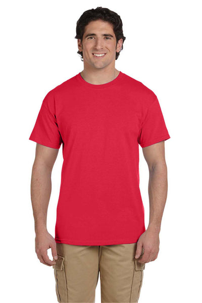 Fruit Of The Loom 3931 Mens HD Jersey Short Sleeve Crewneck T-Shirt Fiery Red Front