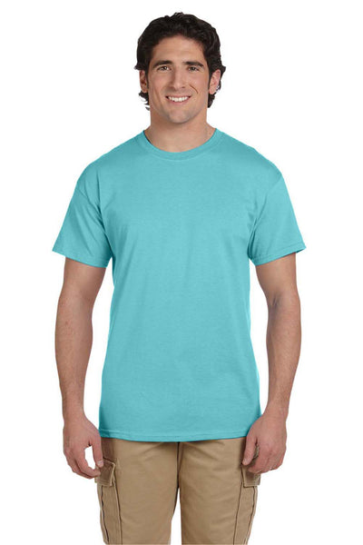 Fruit Of The Loom 3931 Mens HD Jersey Short Sleeve Crewneck T-Shirt Scuba Blue Front