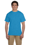 Fruit Of The Loom 3931 Mens HD Jersey Short Sleeve Crewneck T-Shirt Heather Turquoise Blue Front