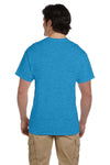 Fruit Of The Loom 3931 Mens HD Jersey Short Sleeve Crewneck T-Shirt Heather Turquoise Blue Back