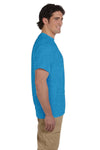 Fruit Of The Loom 3931 Mens HD Jersey Short Sleeve Crewneck T-Shirt Heather Turquoise Blue Side
