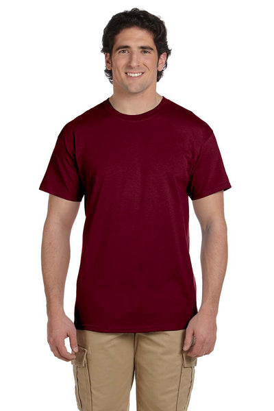 Fruit Of The Loom 3931 Mens HD Jersey Short Sleeve Crewneck T-Shirt Maroon Front