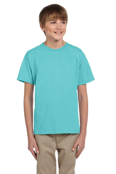 Fruit Of The Loom 3931B Youth HD Jersey Short Sleeve Crewneck T-Shirt Scuba Blue Front