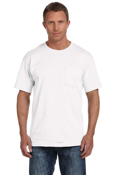 Fruit Of The Loom 3931P Mens HD Jersey Short Sleeve Crewneck T-Shirt w/ Pocket White Front