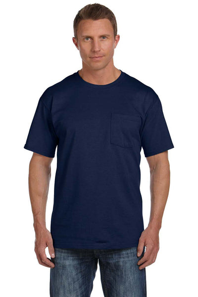 Fruit Of The Loom 3931P Mens HD Jersey Short Sleeve Crewneck T-Shirt w/ Pocket Navy Blue Front