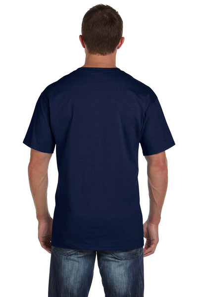 Fruit Of The Loom 3931P Mens HD Jersey Short Sleeve Crewneck T-Shirt w/ Pocket Navy Blue Back