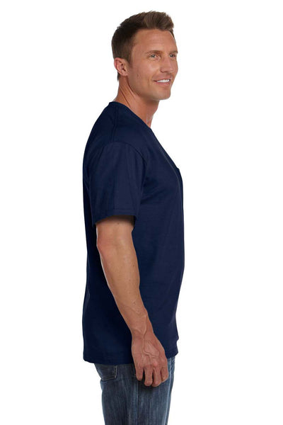 Fruit Of The Loom 3931P Mens HD Jersey Short Sleeve Crewneck T-Shirt w/ Pocket Navy Blue Side