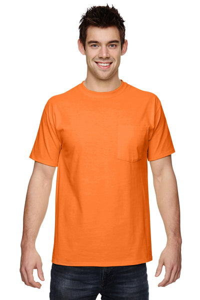 Fruit Of The Loom 3931P Mens HD Jersey Short Sleeve Crewneck T-Shirt w/ Pocket Safety Orange Front