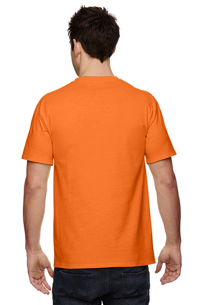 Fruit Of The Loom 3931P Mens HD Jersey Short Sleeve Crewneck T-Shirt w/ Pocket Safety Orange Back