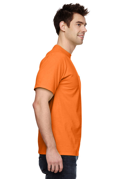 Fruit Of The Loom 3931P Mens HD Jersey Short Sleeve Crewneck T-Shirt w/ Pocket Safety Orange Side