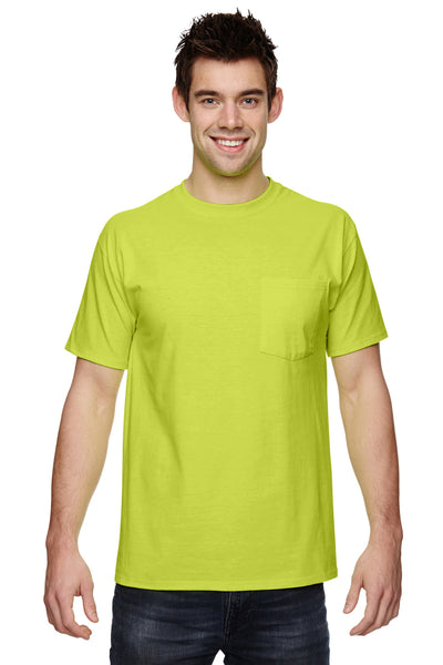 Fruit Of The Loom 3931P Mens HD Jersey Short Sleeve Crewneck T-Shirt w/ Pocket Safety Green Front