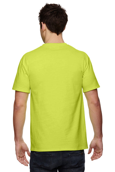 Fruit Of The Loom 3931P Mens HD Jersey Short Sleeve Crewneck T-Shirt w/ Pocket Safety Green Back