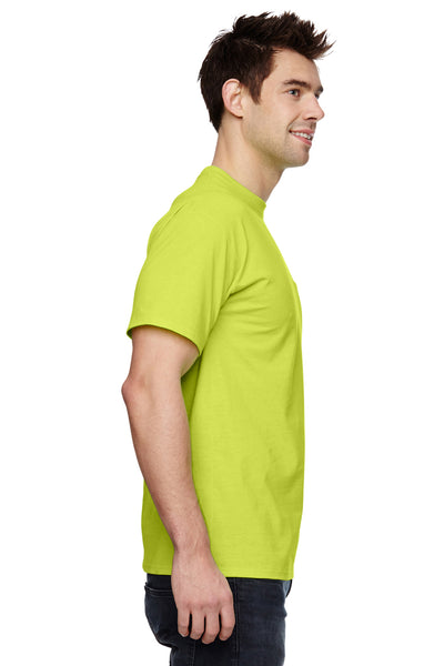 Fruit Of The Loom 3931P Mens HD Jersey Short Sleeve Crewneck T-Shirt w/ Pocket Safety Green Side
