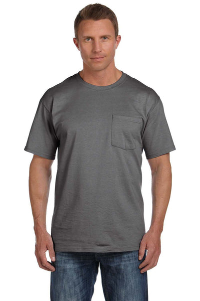 Fruit Of The Loom 3931P Mens HD Jersey Short Sleeve Crewneck T-Shirt w/ Pocket Charcoal Grey Front