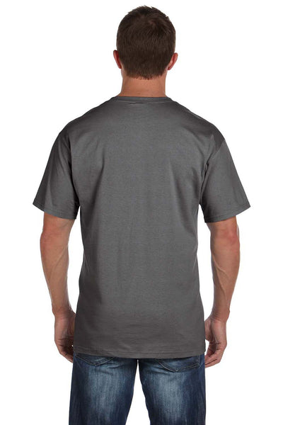 Fruit Of The Loom 3931P Mens HD Jersey Short Sleeve Crewneck T-Shirt w/ Pocket Charcoal Grey Back