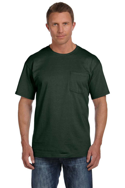 Fruit Of The Loom 3931P Mens HD Jersey Short Sleeve Crewneck T-Shirt w/ Pocket Forest Green Front