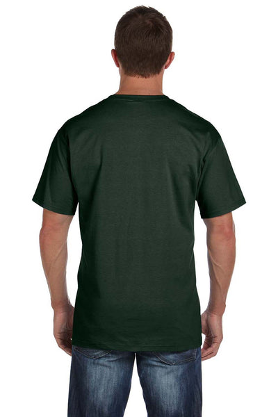 Fruit Of The Loom 3931P Mens HD Jersey Short Sleeve Crewneck T-Shirt w/ Pocket Forest Green Back